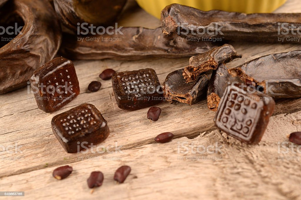 Fruit and candy carob stock photo