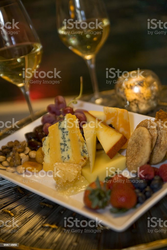 Fruit and Cheese Plate royalty-free stock photo