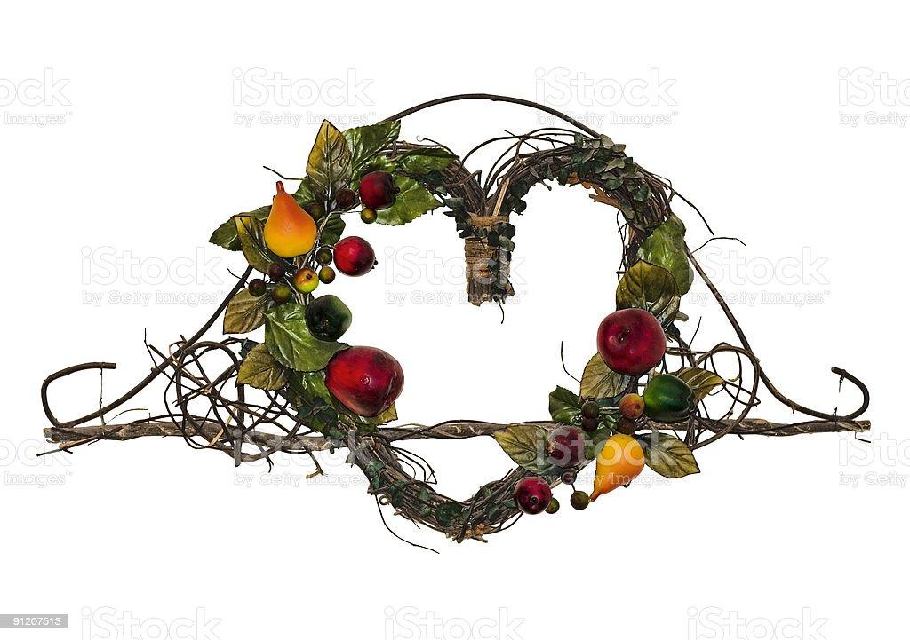 fruit and foliage wall decoration, heart shaped royalty-free stock photo