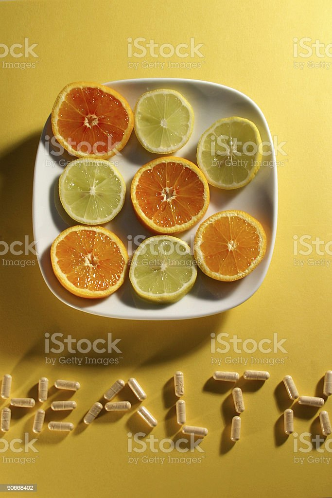 fruit and pills royalty-free stock photo
