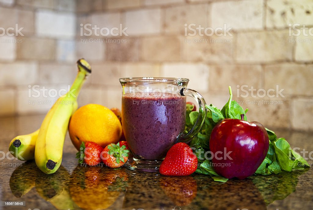 Fruit and Spinach Green Smoothie royalty-free stock photo