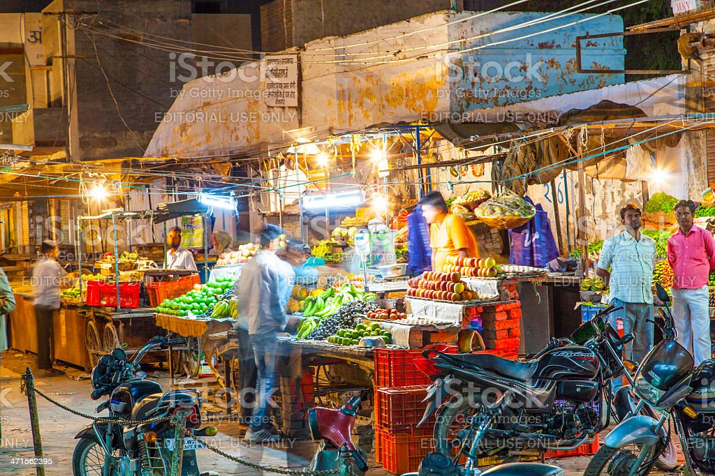 Fruit and veg stall at the night market in Bikaner royalty-free stock photo