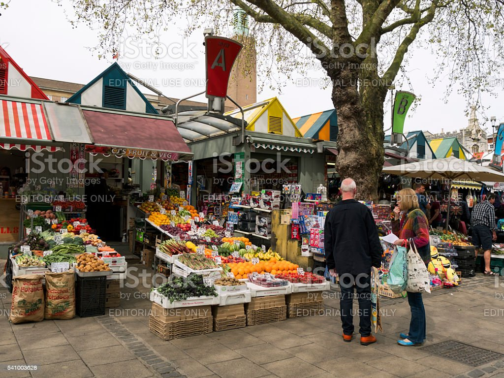 Fruit and veg stall in Norwich Market stock photo