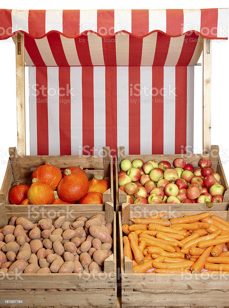 Fruit and veg stall - with clipping path stock photo