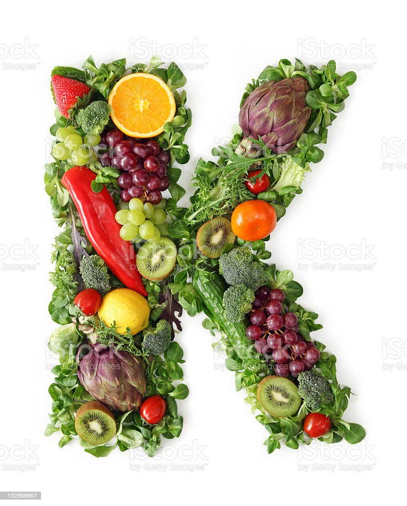 Fruit and vegetable alphabet royalty-free stock photo