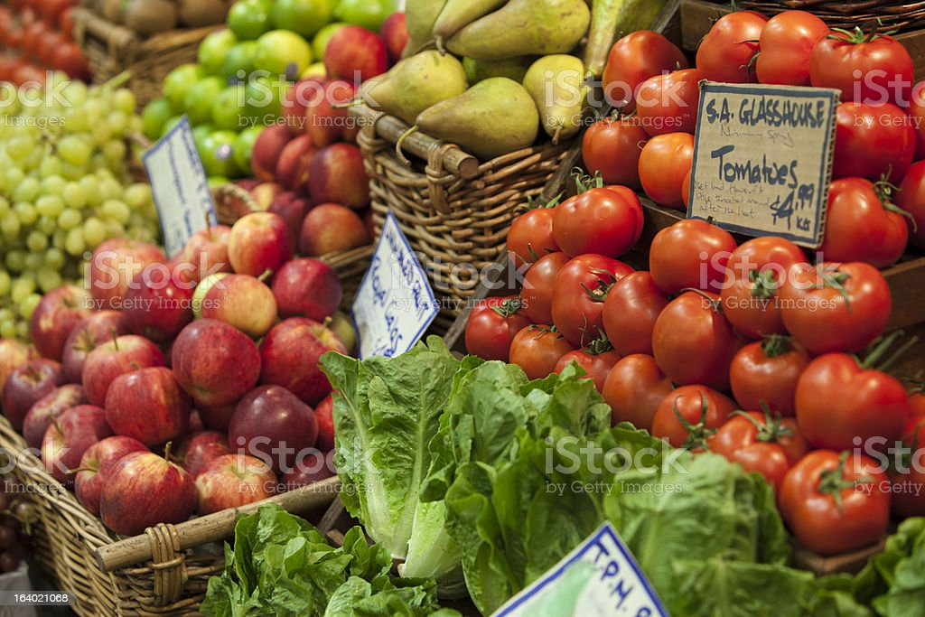 Fruit and vegetable at a farmer's market stall royalty-free stock photo