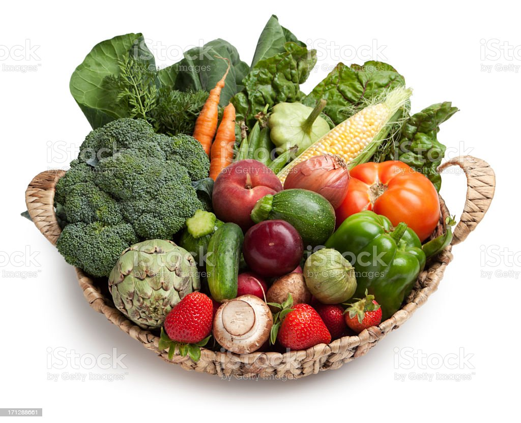 Fruit and vegetable basket stock photo