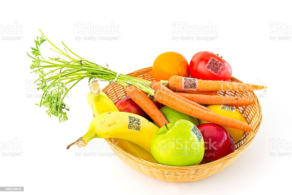 Fruit and Vegetable Basket with QR Code Labels stock photo