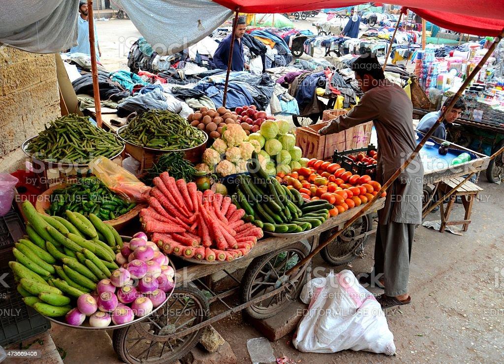 Fruit and vegetable cart outside Empress Market Karachi Pakistan stock photo