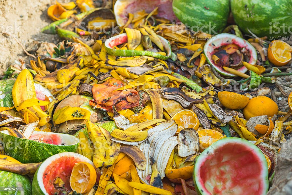 Fruit and vegetable compost close up stock photo