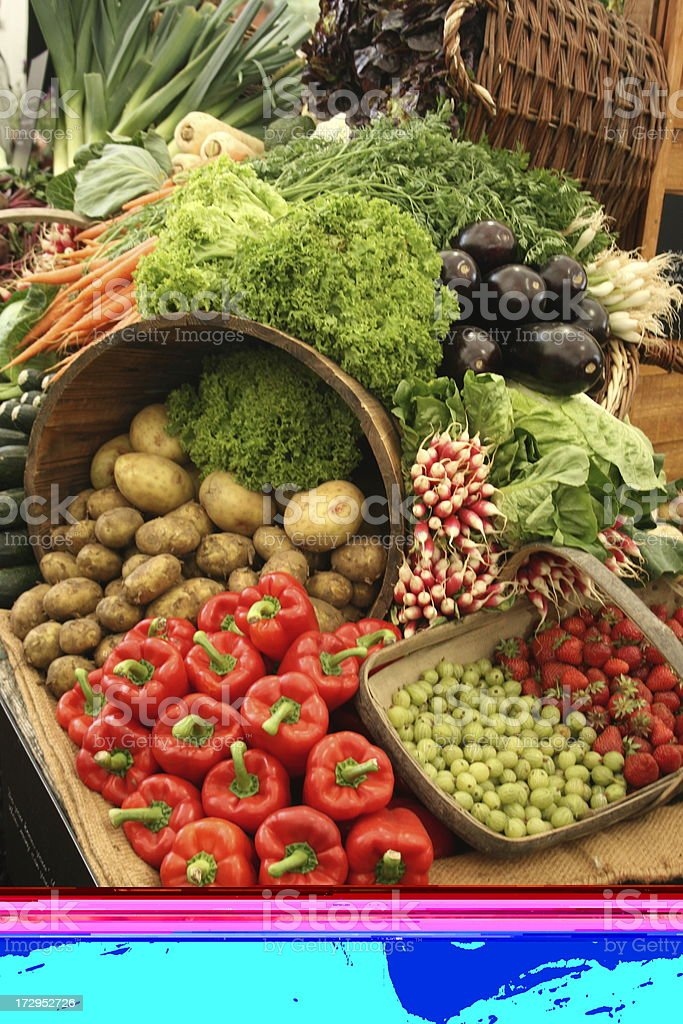 Fruit and vegetable display royalty-free stock photo