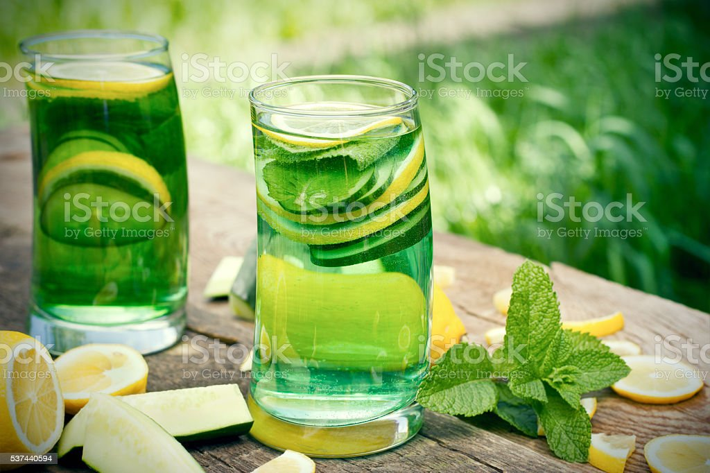 Fruit and vegetable green healthy juice stock photo