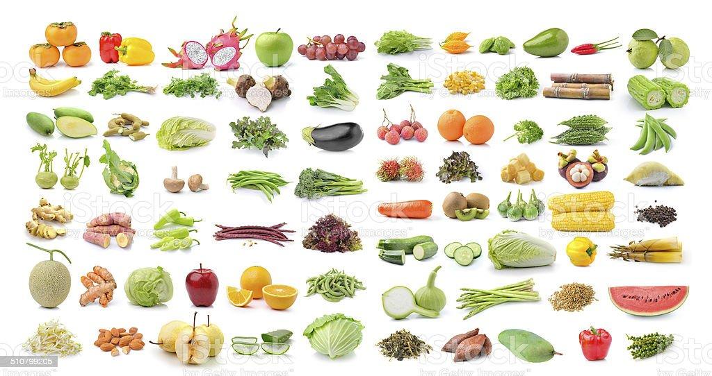 fruit and vegetable isolated on white background stock photo