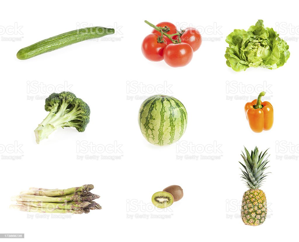 Fruit and vegetable layout on a white background royalty-free stock photo