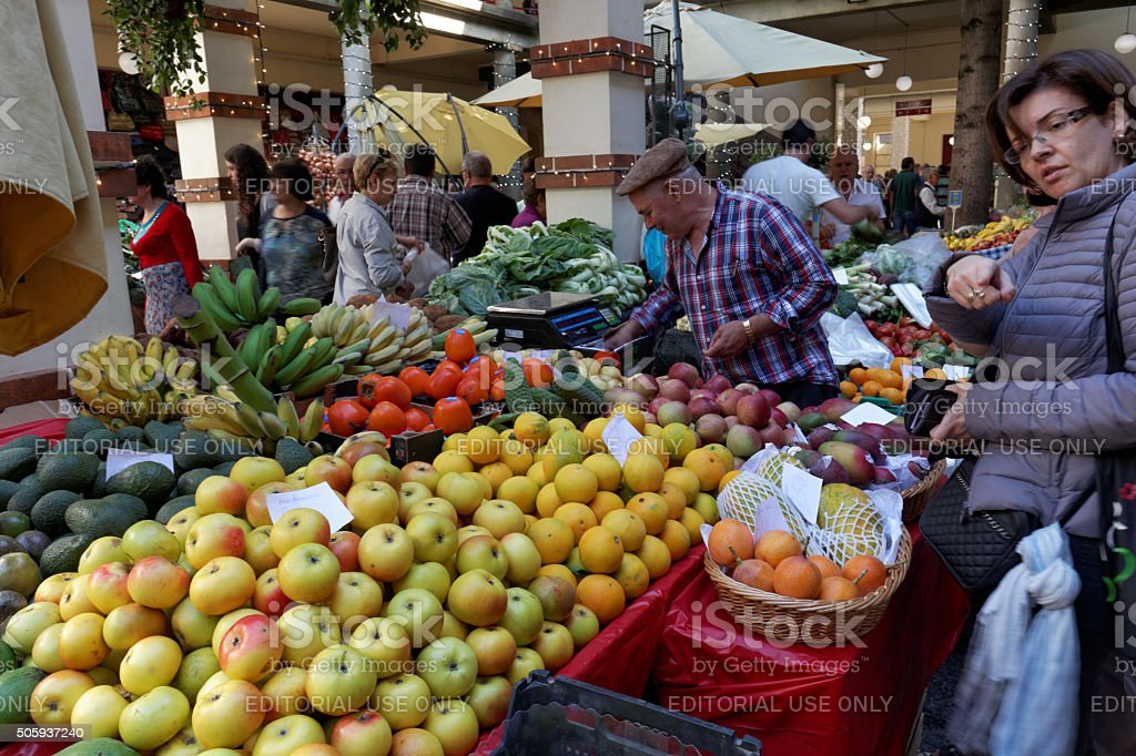 Fruit and vegetable market in Madeira stock photo