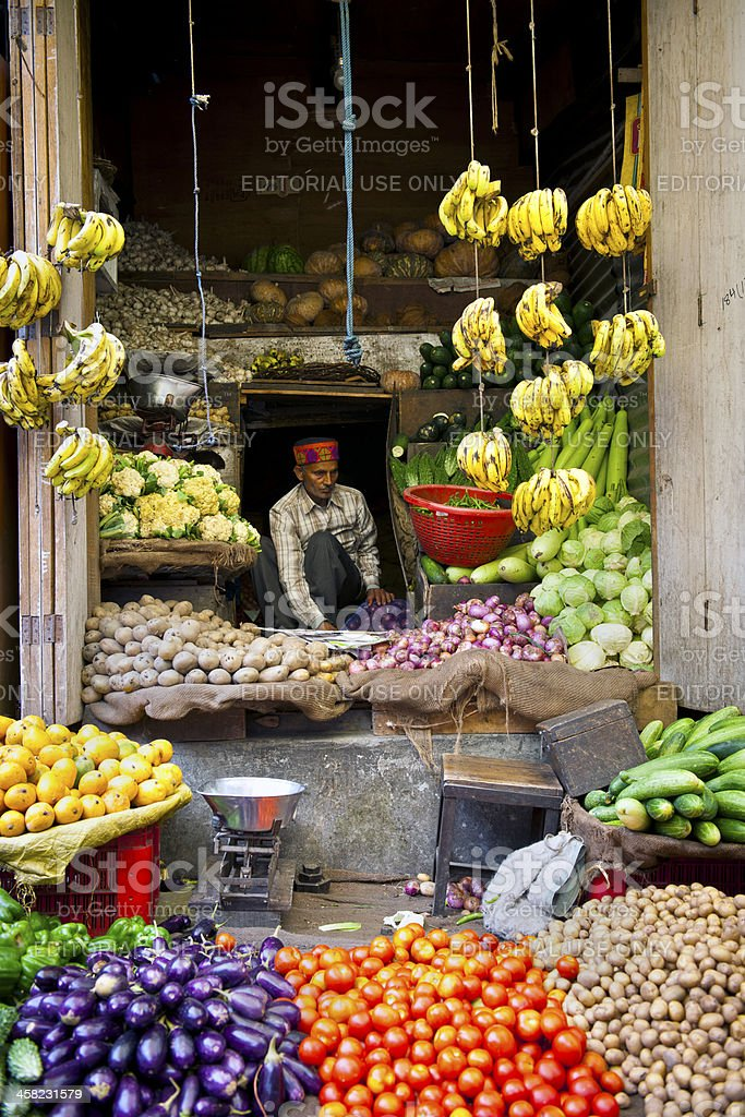 Fruit and Vegetable Market in Manali Northen India stock photo
