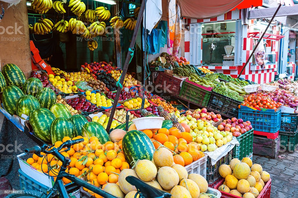 Fruit and Vegetable Market in,Marrakech, Morocco,North Africa stock photo