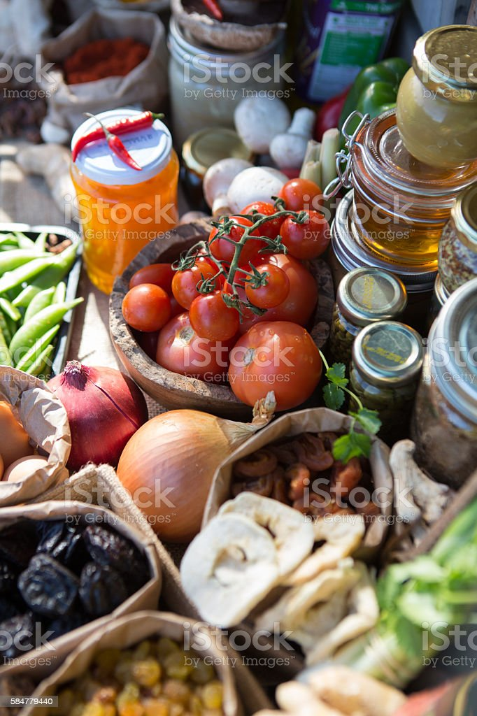 Fruit and Vegetable Pantry stock photo