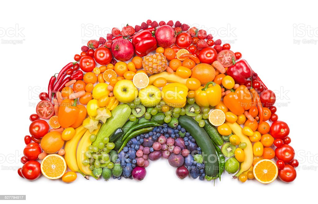Fruit and vegetable rainbow stock photo