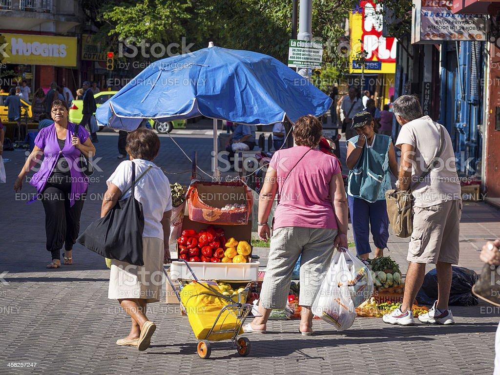 Fruit and Vegetable Stall Under Parasol, Cordoba, Argentina royalty-free stock photo