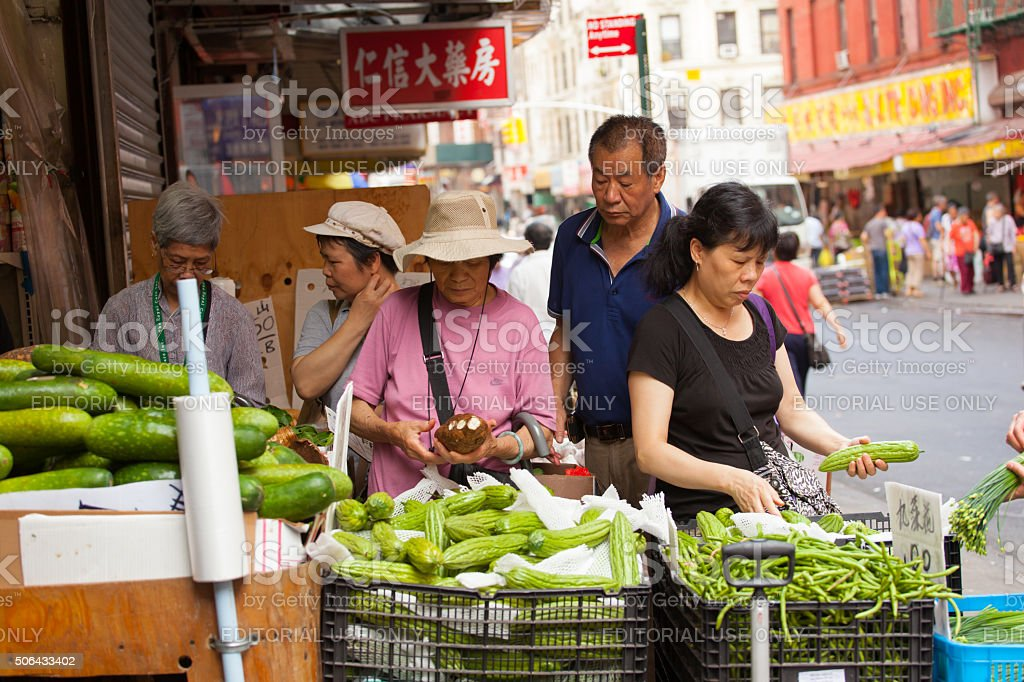 Fruit and vegetable stand in Chinatown stock photo