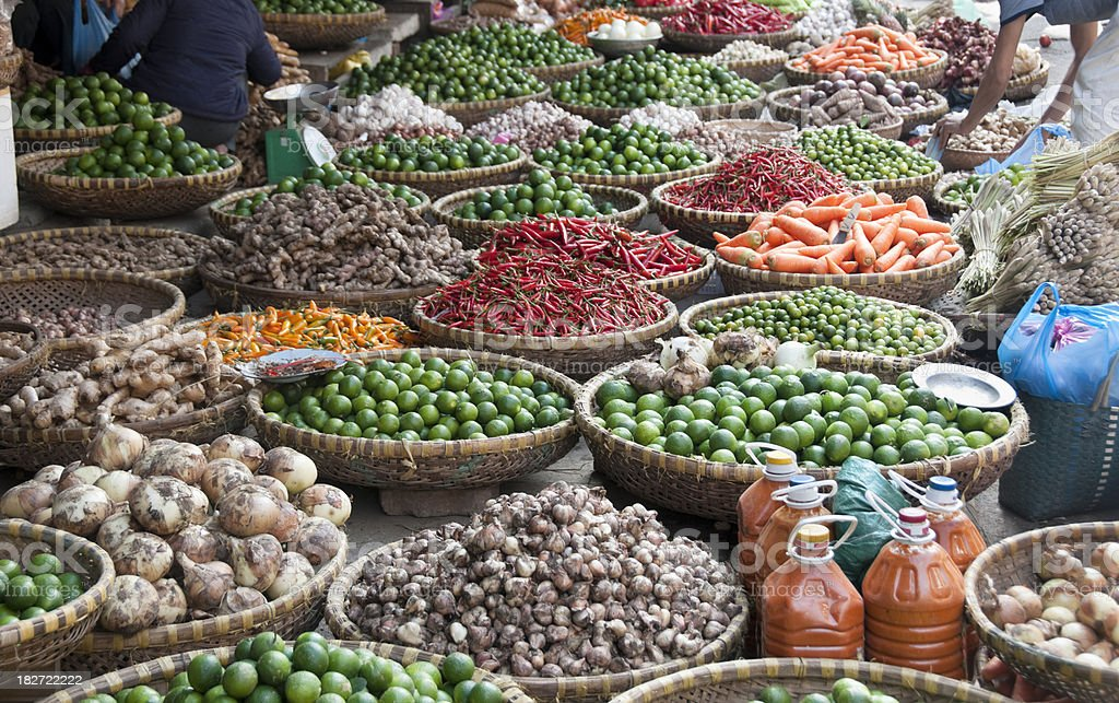 Fruit And Vegetables At A Street Market In Hanoi, Vietnam royalty-free stock photo