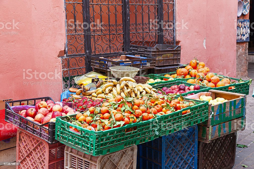 Fruit and vegetables for sale in the Marrakech souk. Morocco. stock photo