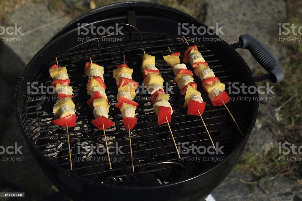 fruit and vegetables on the grill royalty-free stock photo