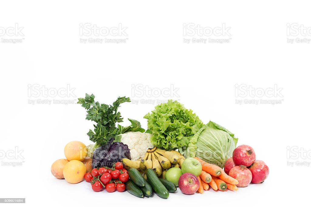 Fruit and Vegetables on White Background stock photo
