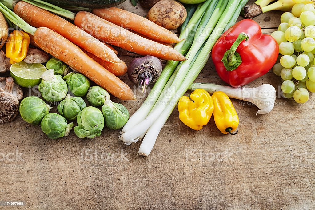 fruit and vegetables on wood royalty-free stock photo