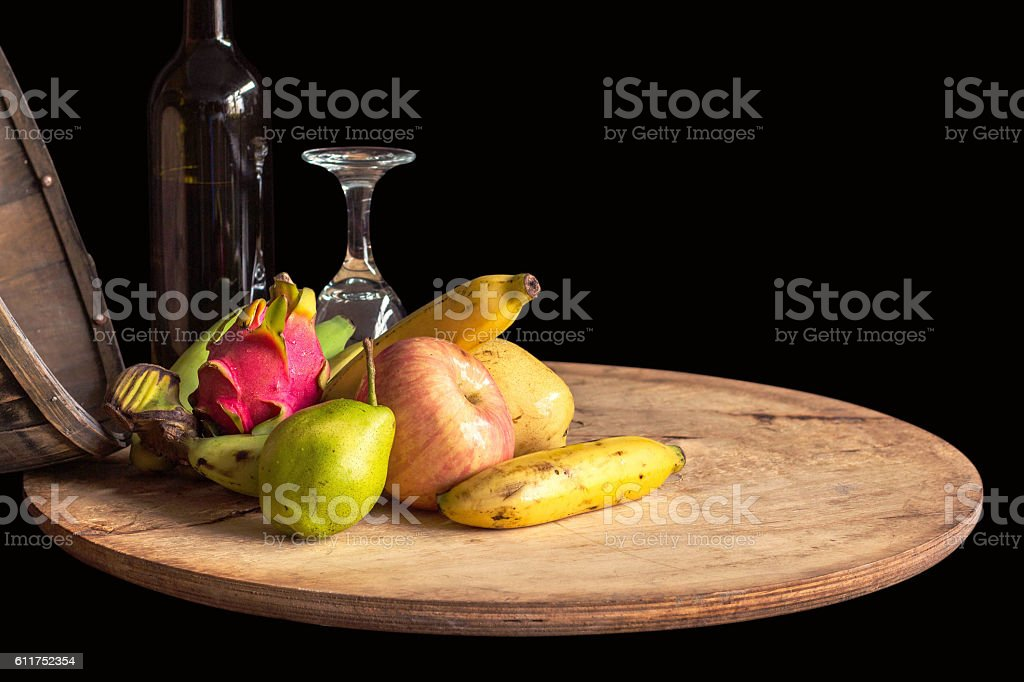 Fruit and wine on a tray stock photo