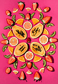Fruit background over head photo