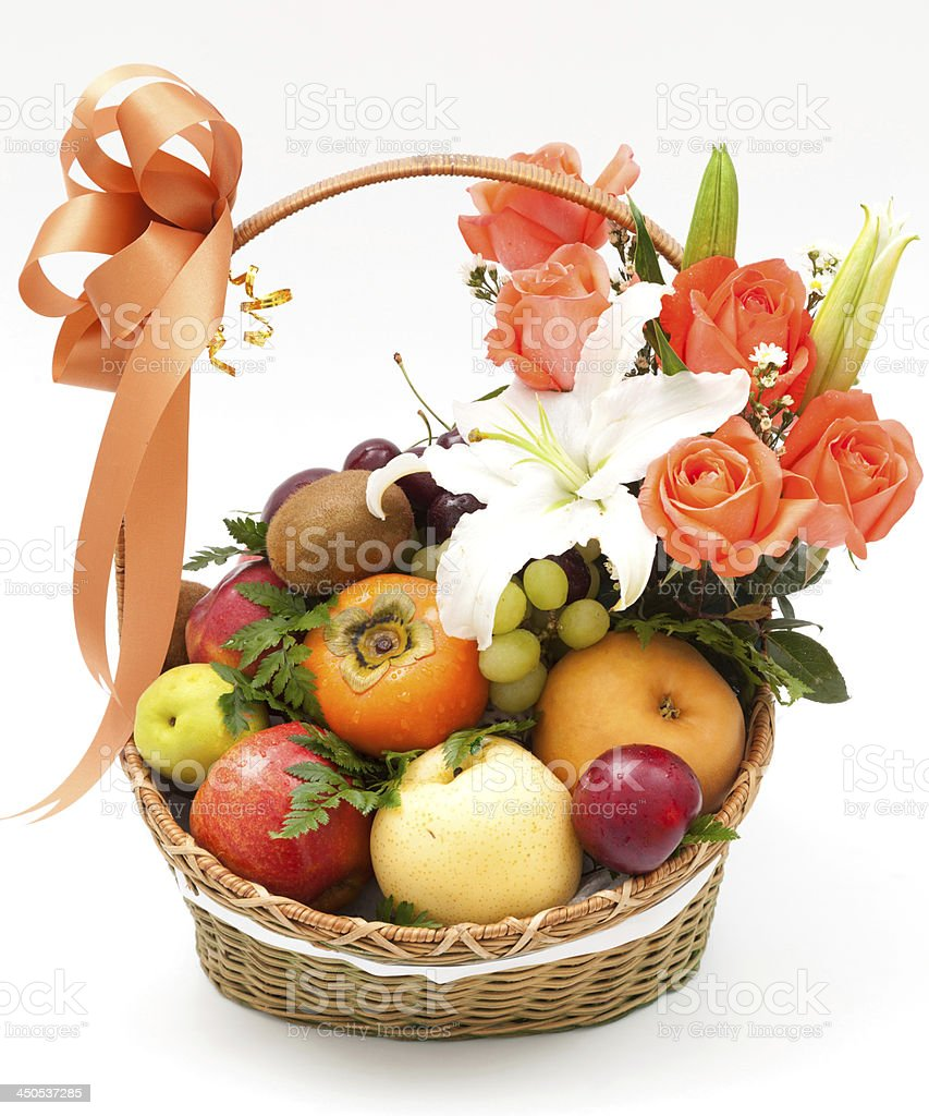 fruit basket with flower stock photo