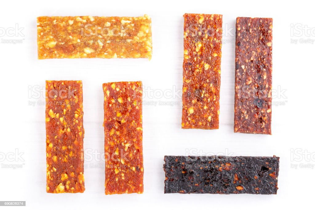 Fruit berry and nut energy bars. Healthy snack. Flat lay. stock photo