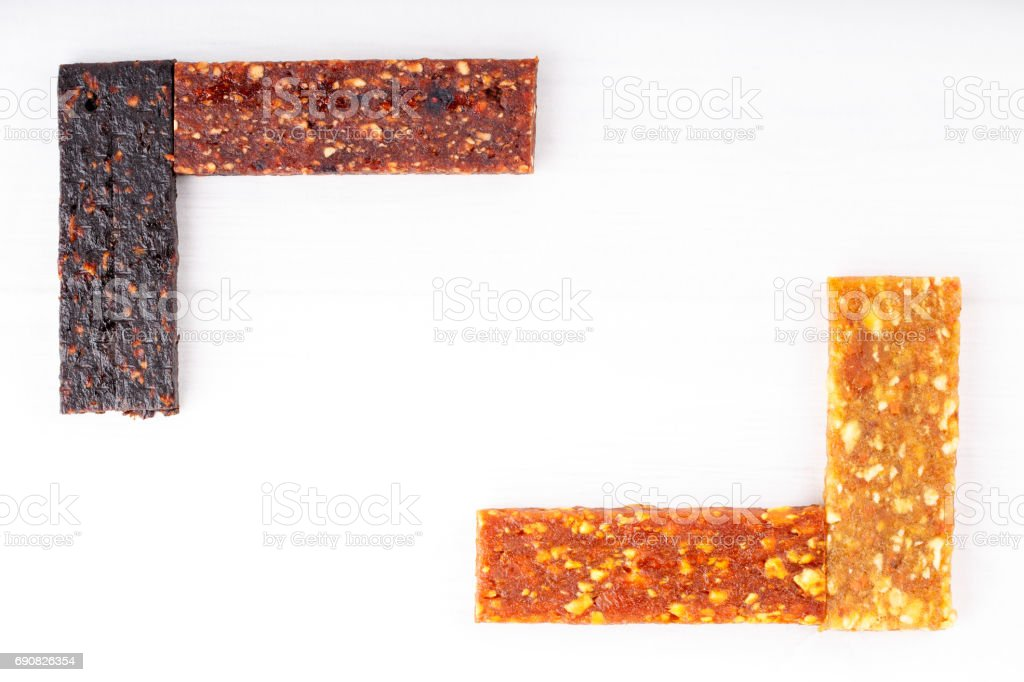 Fruit berry and nut energy bars. Healthy snack. Frame stock photo