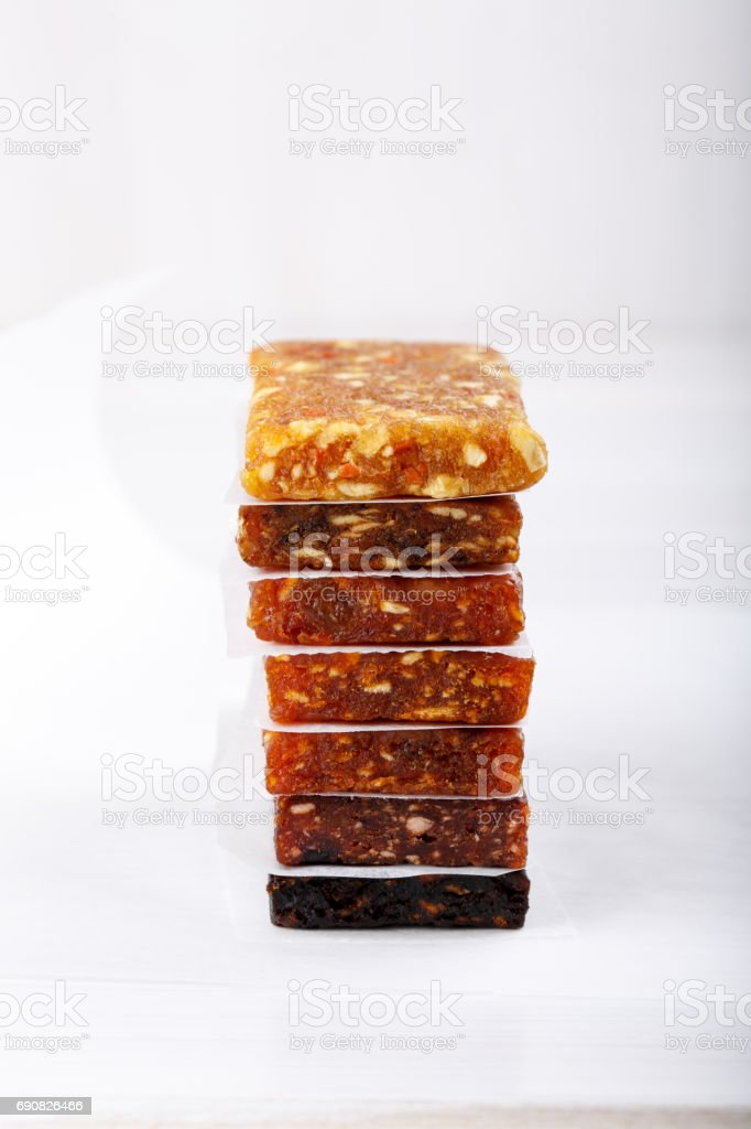 Fruit berry and nut energy bars. Healthy snack. stock photo