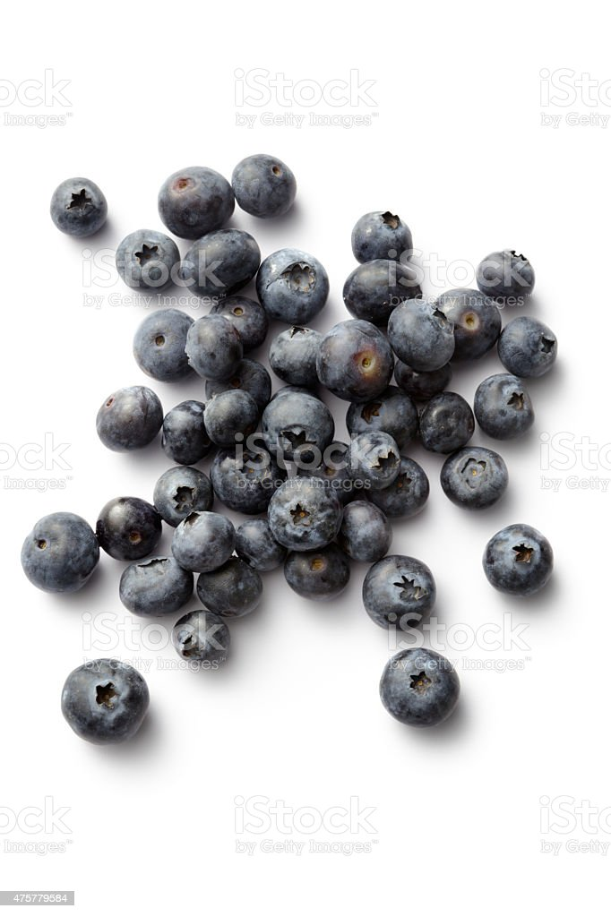 Fruit: Blueberries Isolated on White Background stock photo