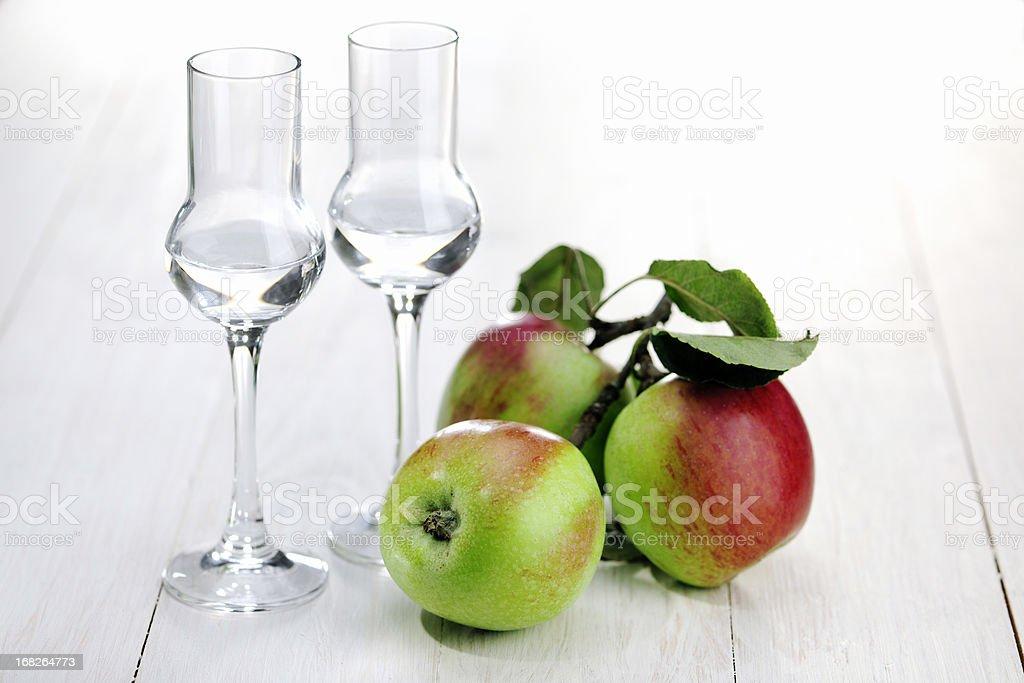 Fruit Brandy; Apple royalty-free stock photo