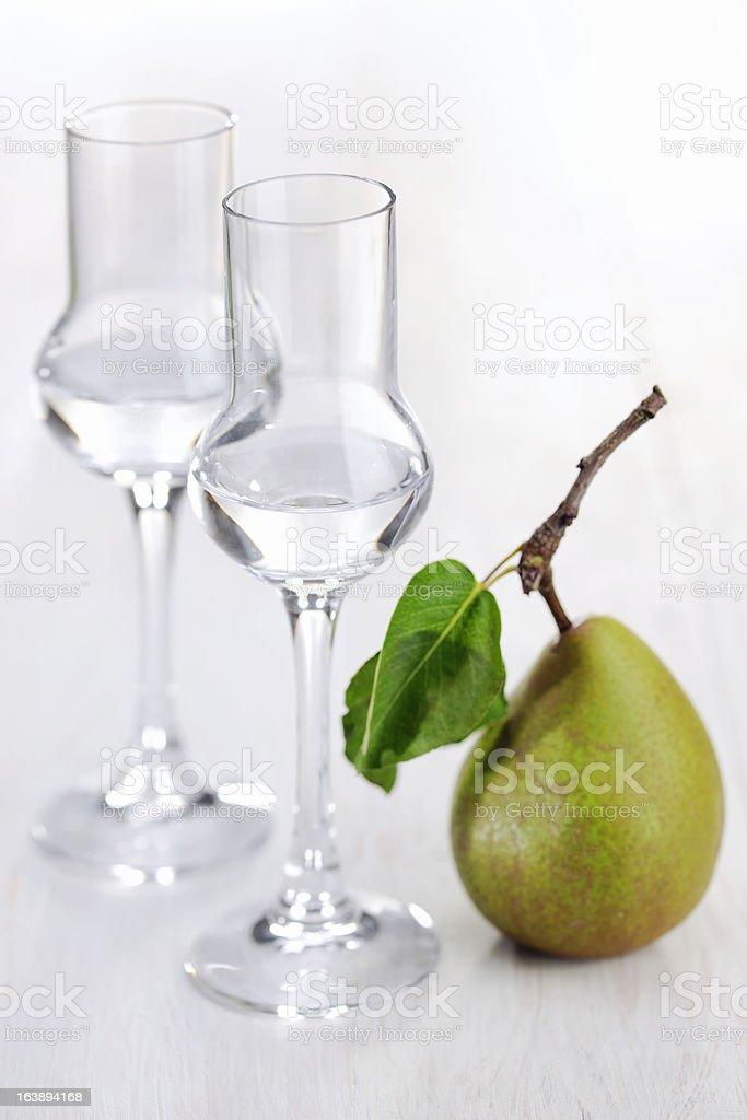 Fruit Brandy; Pear royalty-free stock photo