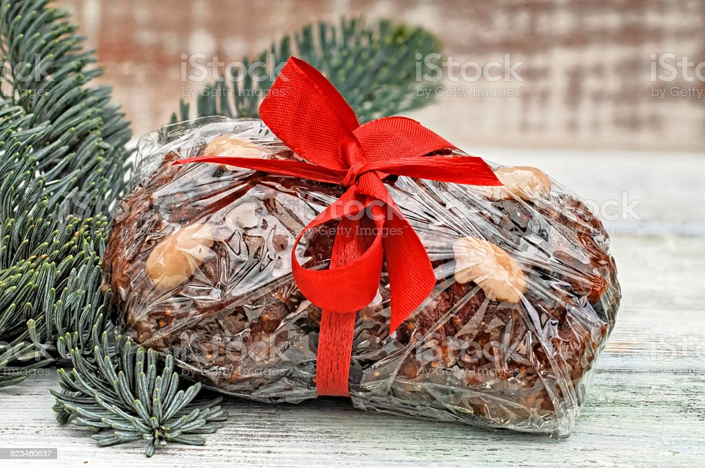 Fruit bread wrapped with foil stock photo