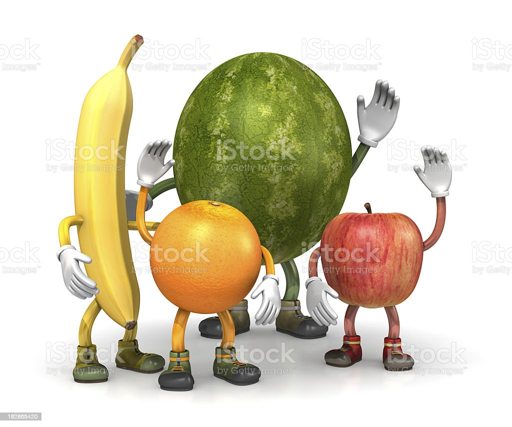 Fruit bunch characters stock photo