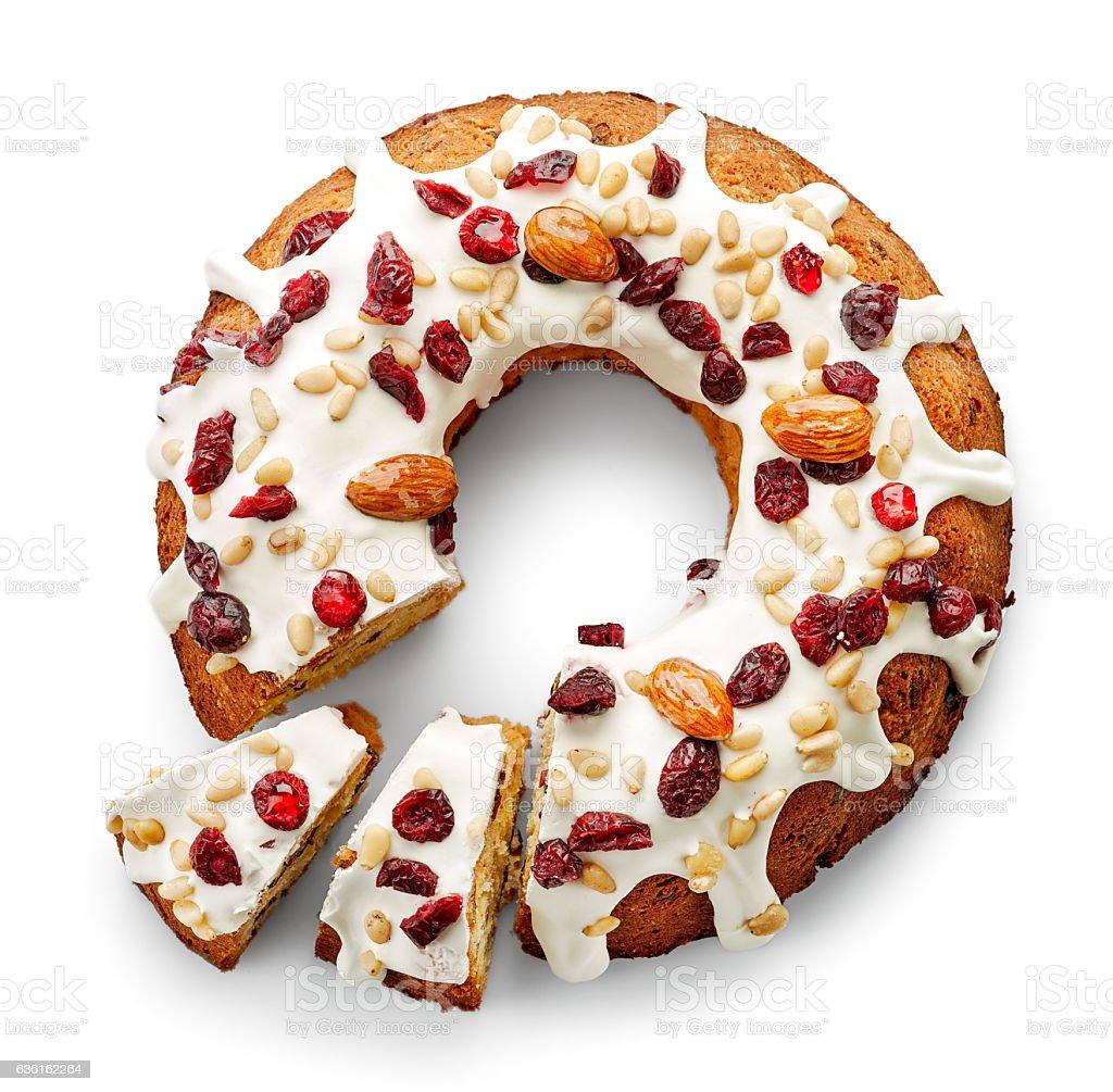 Fruit cake on white background stock photo