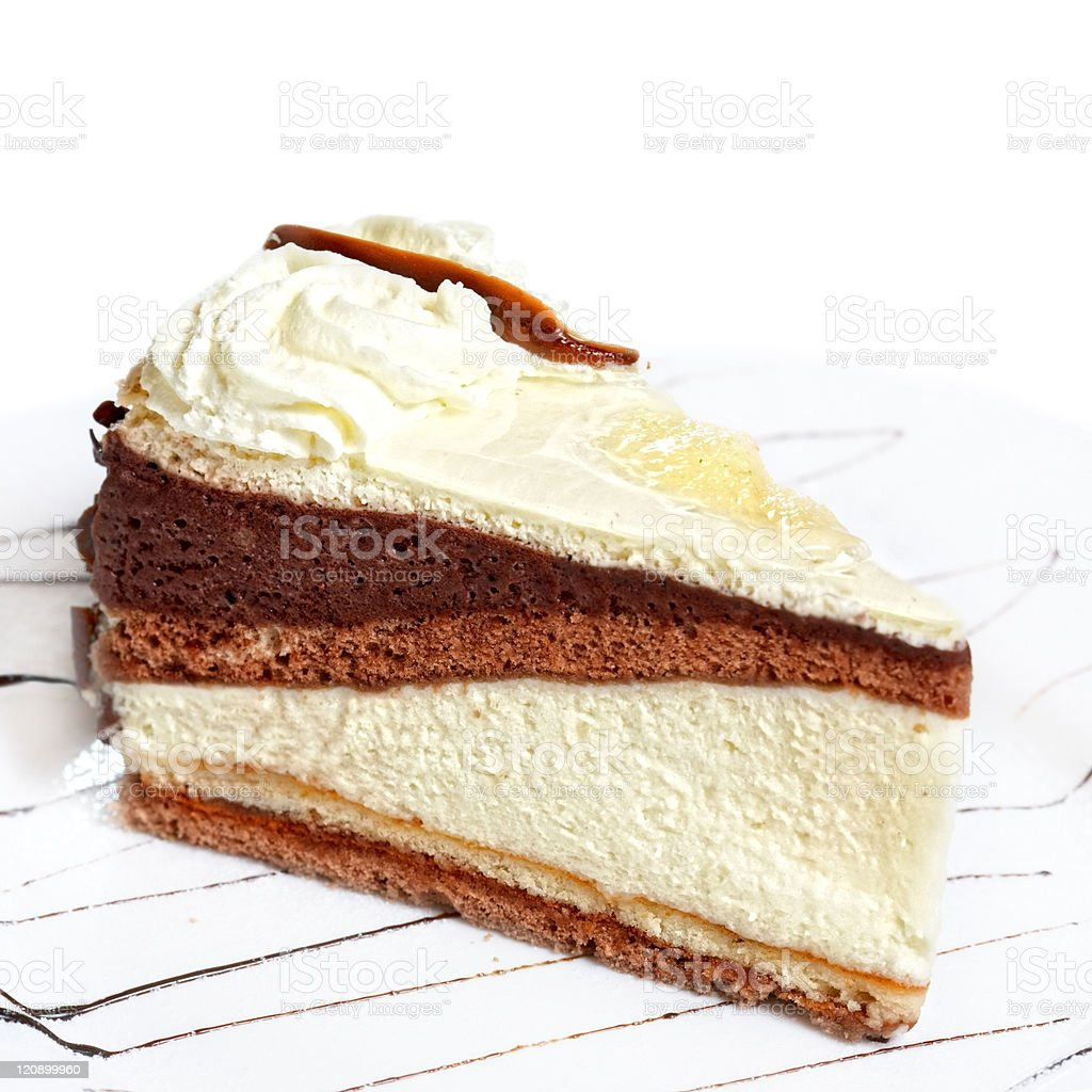 fruit cake with whipped cream royalty-free stock photo