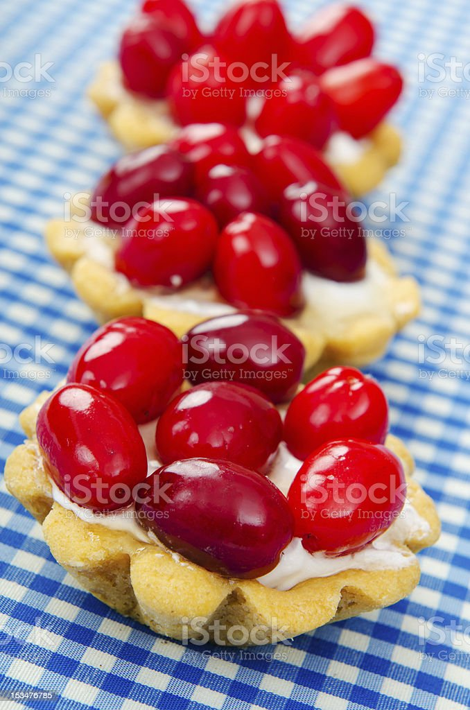 Fruit cakes with cornel berries royalty-free stock photo
