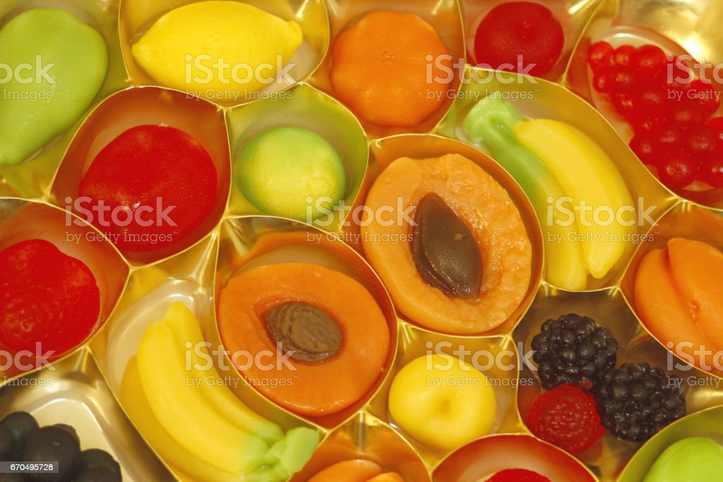 fruit candy in shape of fruits apricot and others berries stock photo