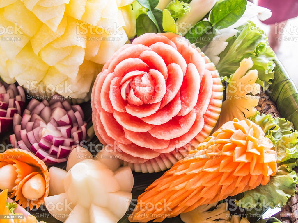 fruit carved shape beautiful flowers stock photo