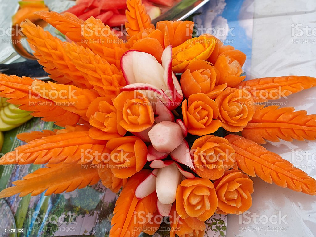Fruit carving food sculpture art stock photo