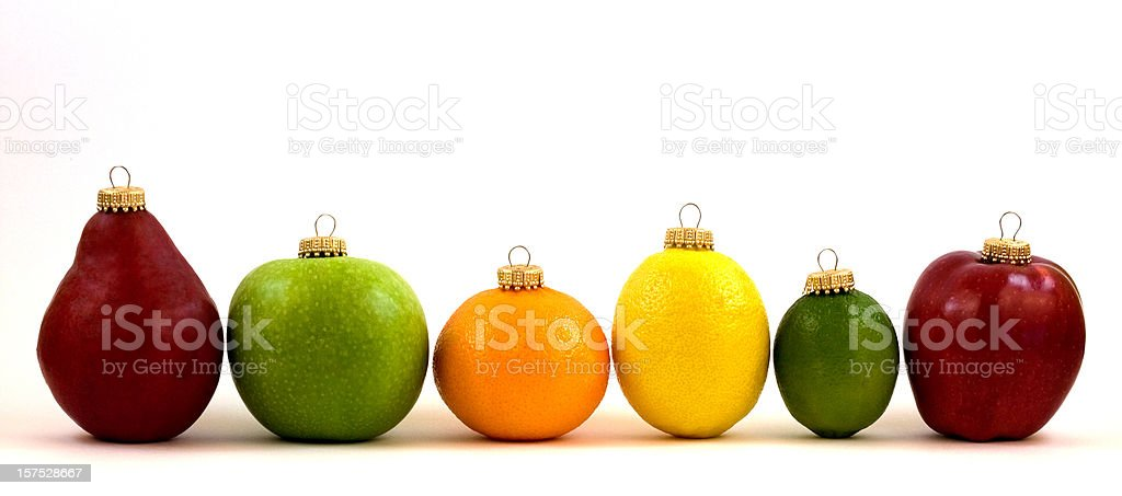 Fruit Christmas Ornament Line Up stock photo