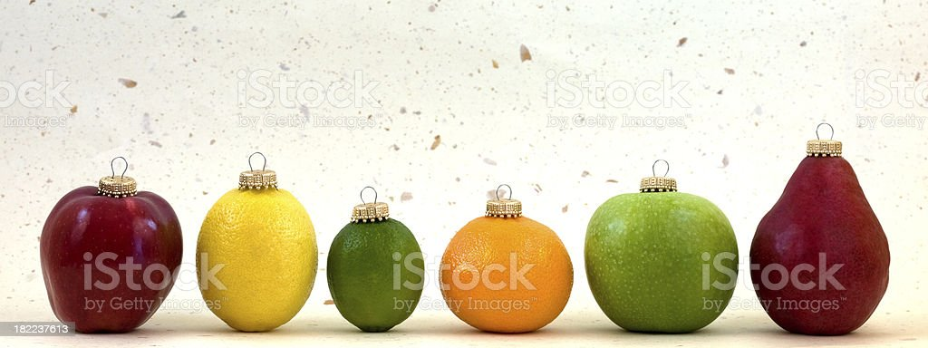 Fruit Christmas Ornaments royalty-free stock photo