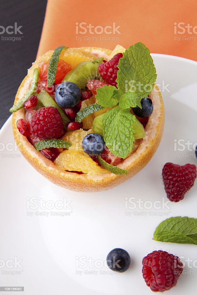 Fruit citrus berry salad royalty-free stock photo
